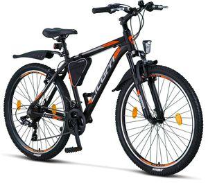 Licorne Bike Effect Premium Mountainbike - Fahrrad für Jungen, Mädchen, Herren und Damen - Shimano 21 Gang-Schaltung - Herrenrad, Farbe:Schwarz/Orange, Zoll:26