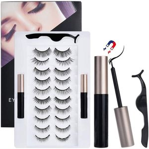 Magnet Wimpern mit Eyeliner, 3D Wasserdicht Magnetische Wimpern Natürlich, 10 Paar KeinKleber künstliche Wimpern Magnetisch