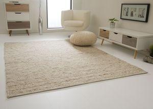 Steffensmeier Handweb-Teppich Landshut, Nutzschicht 100 % Schurwolle, Wohnzimmer, Esszimmer, Schlafzimmer - beige, Größe: 170x230 cm