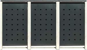 3 Tailor Mülltonnenboxen Basic für 240 Liter Tonne /Stanzung 2 /Anthrazit / Grau