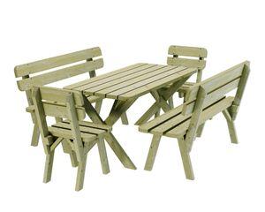 PLATAN ROOM Gartengarnitur Holz Kiefer Sitzgruppe 150 cm breit Gartenbank Gartentisch massiv Imprägniert (Set 2 (Tisch + 2 Bänke + 2 Stühle))
