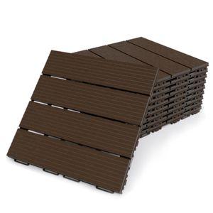 Terrassenfliesen Fortena (braun) 30x30cm, 8 Stück, 0,72 qm, Anti-Rutsch-Oberfläche, Klickfliesen aus Kunststoff in Holzoptik, Bodenbelag, witterungsbeständig: Braun