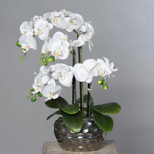 künstliche Orchidee, Phalaenopsis weiß in silberner Kugelvase H. 54cm DPI