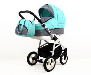 Kinderwagen Alu Way,3 in 1 -Set Wanne Buggy Babyschale Autositz mit Zubehör Mint