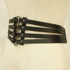 Damen Gothic Punk Breit Gürtel Korsett Nieten Taillengürtel Hüftgürtel Ledergürtel aus Kunstleder
