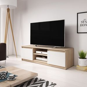 Selsey TV-Lowboard PERMYS - TV-Schrank modern in Sonoma Eiche / Weiß Matt, 120 cm breit