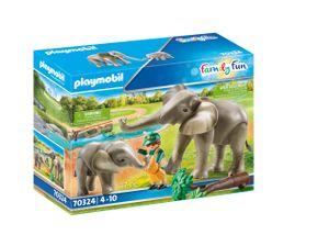 PLAYMOBIL Family Fun 70324 Elefanten im Freigehege