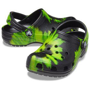 crocs Classic Tie Dye Graphic Clog Kids Schwarz / Limette Punch Croslite Größe: 38/39 Normal