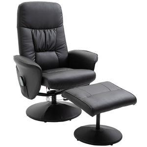 HOMCOM Massagesessel mit Fußhocker Relaxsessel  Massagesessel TV-Sessel145°-Neigung Kunstleder Schwarz 76 x 81 x 105 cm