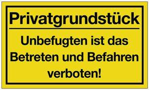 Schild Privatgrundstück 400x250mm Ku. gelb/schwarz