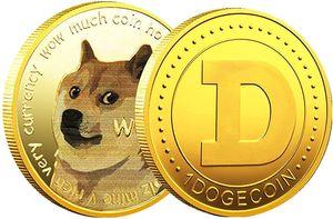 4x Gold-Dogecoin-Münzen zum Gedenken , Vergoldete Doge-Münzen Virtuelle Hobby-Münzen , zum Sammeln von Dogecoins