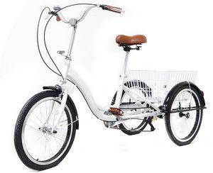 """20"""" Erwachsenendreirad  Dreirad Erwachsene 3 Rad Fahrrad  Mit Einkaufskorb, Weiß  Geschenke für ältere Eltern"""