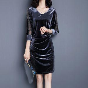 Damenmode Herbst V-Ausschnitt Velvet Splicing Knielanges Kleid mit halben Ärmeln Größe:M,Farbe:Grau