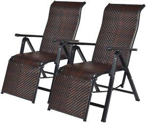 COSTWAY 2er Liegestuhl klappbar, Relaxliege mit verstellbaren Lehnen, Rattan Klappliege Relaxstuhl mit Armlehne, Relaxsessel Gartenstuhl für Garten Terrasse Strand Balkon