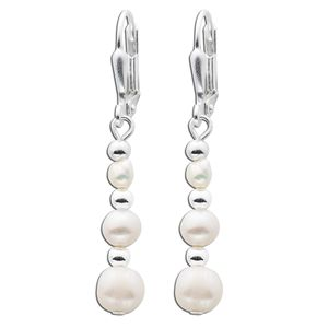 Langer Perlen Ohrhänger Perlenohrringe Silber 925 Silberkugeln weisse  Süßwasserzuchtperlen