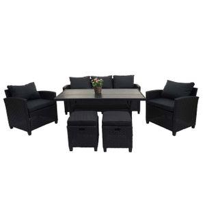 Poly-Rattan Garnitur MCW-E95, Garten-/Lounge-Set Sitzgruppe, Spun Poly halbrundes Rattan  schwarz, Kissen anthrazit