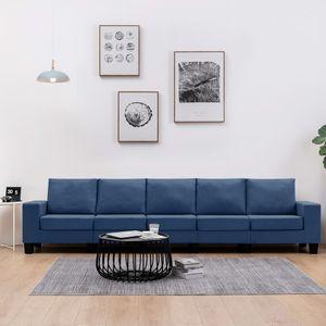 5-Sitzer-Sofa Blau Stoff, Wohnlandschaft-Sofa, Couch, Relaxsofa Moderne