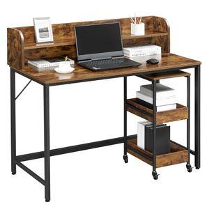 VASAGLE Schreibtisch mit Monitorständer, Loch für Kabel, Büro-Set, 3-stöckiger Rollwagen, Stahlrahmen, Industriestil, vintagebraun-schwarz LWD066B01