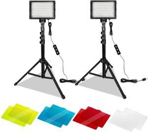 Hengmei Videoleuchte LED 2 Pack Dimmbares 5600K USB-LED-Videolicht Fotolicht Fotografie Beleuchtung mit verstellbarem Stativ Farbfilter für Farbenfroh Beleuchtung Produktporträt YouTube-Videofotografie