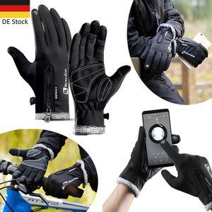 1 Paar Windproof Handschuhe Winter Warm Wasserdicht Motorrad Fahrrad Touchscreen, M, schwarz