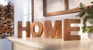 Holz-Schriftzug 'Home', 4tlg. Natur Schmuck Wohnen Tisch Deko Raum