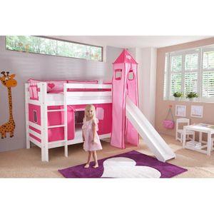 Etagenbett BENI-13 mit Rutsche und Textilset Vorhang, Turm (lang) und Tasche pink/rosa