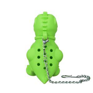 Niedliches Tee-Ei - T-Rex grün - aus Silikon (BPA-frei) für losen Tee (Tee-Infuser)