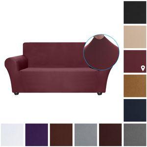 Stretch Sofa Schonbezug Milch Seide Stoff Anti-Rutsch Soft Couch Sofabezug 2-Sitzer Waschbar für Wohnzimmer Kinder Haustiere (Weinrot)