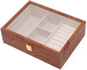 26,5x20x8cm Schmuckkasten Holz Retro Schmuckschatulle Schmuckkoffer Jewellery Box Schmuckaufbewahrungsbox Schmuckkästchen Schmuckkiste für Ringe Ohrringe Ketten