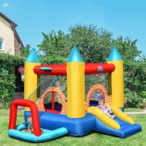 GOPLUS Aufblasbare Hüpfburg mit Rutsche, 3 Verschiedene Optionen, Springburg aus hochwertigem Oxford-Material, mit PVC-Beschichtung, Hüpfschloss für Kinder von 3 – 10 Jahren