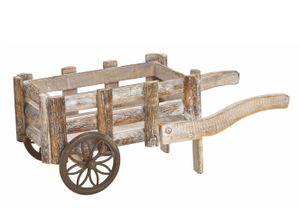 Karre aus Holz braun/weiß - Deko Pflanzkarre ca. 41 cm