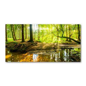 Tulup Glas-Bild -140x70- Wandkunst Dekorative Wand für Küche & Wohnzimmer - Landschaften - Wasserfall im Wald - Grün