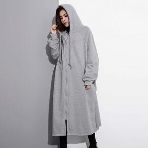 Zanzea Damen Pullover Mäntel mit Kapuze Lange Tops Mäntel Softshellmantel Farbe: Hellgrau, Größe: XXL