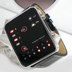 Herrenmode Sport Digital Binary LED Anzeige Kunstlederarmband Armbanduhr Schwarz