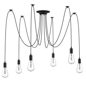 HOMCOM Deckenleuchte Kronleuchter mit 6 verstellbaren Armen und 6 Glühbirnen, Leuchte in Spinnenform für Esszimmer, Wohnzimmer, Stahl, Schwarz, 340x340x160 cm