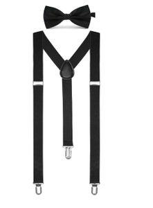 BOOLAVARD Volltonfarbe Herren Hosenträger Fliege Set Clip in Y-Form verstellbare Hosenträger [Braces & Bow Tie   Black]