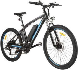 E-Trekkingrad Elektrofahrrad E-bike Faltbares Mountainbike mit LED Fahrradlicht, 27,5 Zoll E-MTB Elektrisches Fahrrad mit 36V 10AH Lithium Akku 250W und Shimano 21-Gang Getriebe,für Damen, Herren, Unisex,Schwarz