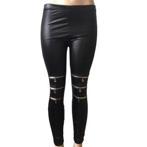 Damen Knie Drei Reißverschluss Enge Lederhose Lmitation Leder Slim Leggings Größe:XL,Farbe:Schwarz
