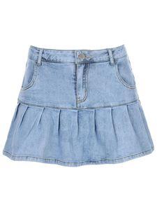 Damenmode Rüschenrock Hüftlang Mittlere Taille Gefälschter zweiteiliger Röcke Minisicherer,Farbe:Blau,Größe:L