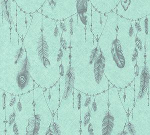 A.S. Création Vliestapete Boho Love Tapete blau grün grau 10,05 m x 0,53 m 364652 36465-2