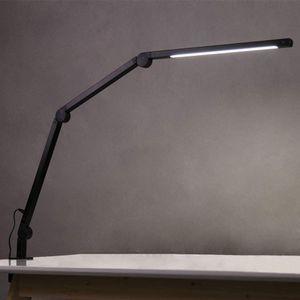 APOKKO LED Schreibtischlampe,Schwenkarm Architektenlampe Arbeitsleuchte,Berührungssteuerung Büro Tischlampe, Stufenloses Dimmen einstellbare Farbtemperaturen,Augenschutz,10W Klemmleuchte,Mattschwarz [Energieklasse A+++]