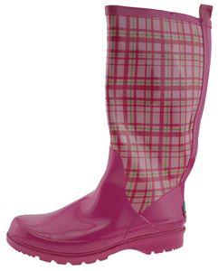 Playshoes Gummistiefel Damen-Gummistiefel Karo rosa Damen 190107-14, Größe Schuhe Erwachsene:40, Farbe Playshoes:rosa
