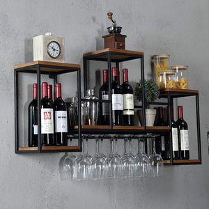 Wandbehang Weinregal Metall Holzregal Flaschenregal mit Weinglashalter Flaschenständer Belastbarkeit 30kg