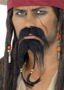Karneval Kostüm Zubehör Piraten Bart für das Gesicht braun Seeräuber