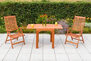 Merxx 3tlg. Vitoria Set - 2 Klappsessel, 1 Balkonausziehtisch - Farbe: braun - Maße: Sessel: 70 x 59 x 113 Tisch: 65 (130) x 70 x 75  cm; 2x 25132-011 + 1x 25912-011