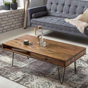 FineBuy Couchtisch HARLEM Massiv-Holz 120 cm breit Wohnzimmer-Tisch Design Metallbeine Landhaus-Stil Beistelltisch, Nachbildung/Front:Sheesham