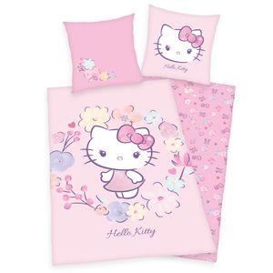 """""""Hello Kitty"""" Bettwäsche / Kinderbettwäsche, 100% Baumwolle ( Renforcé ), 80x80 cm + 135x200 cm"""