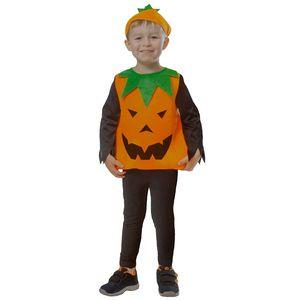 Kinder Kürbis Kostüm mit Kopfbedeckung Größe: 104-110