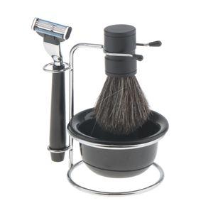 Männer Rasierset mit Rasierständer - Rasierseifenschale - Rasierhobel und Rasierpinsel Home-Use Salon Set