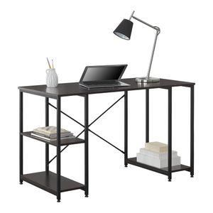 [en.casa] Schreibtisch Aarhus mit 3 Ablagen in Schwarz mit Walnuss Bürotisch mit Regalen Computertisch Arbeitstisch PC Tisch